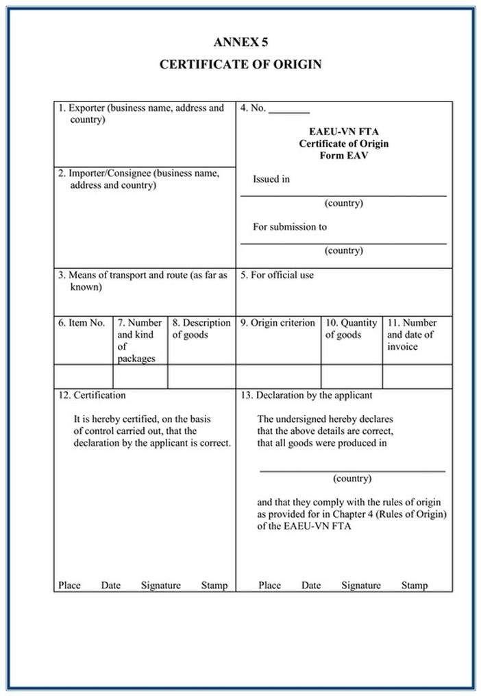 Mẫu Giấy chứng nhận xuất xứ Mẫu EAV - C/O form EAV